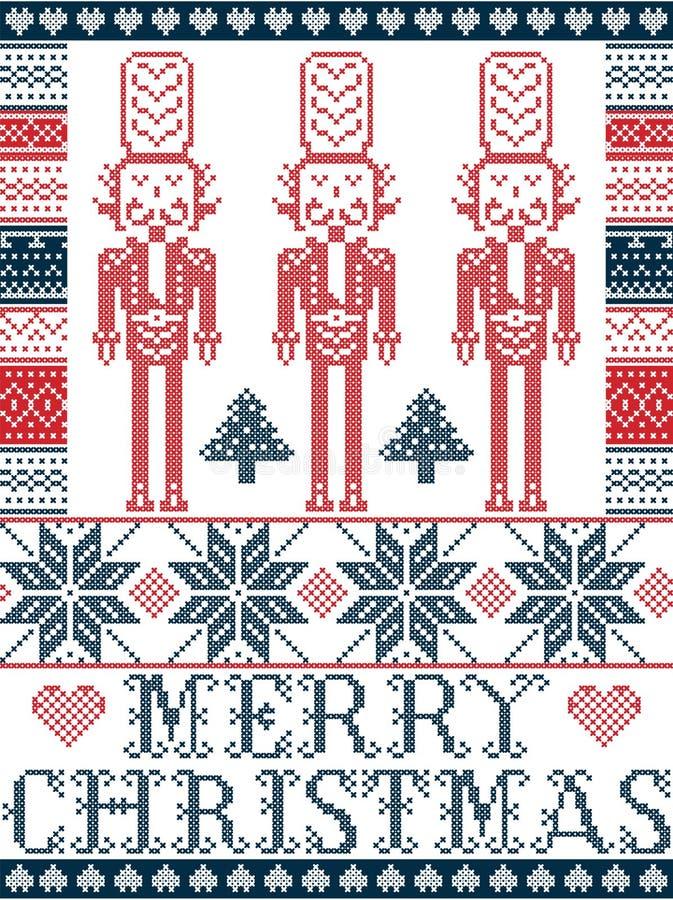 Buon Natale elegante scandinavo, modello nordico di inverno di stile compreso il fiocco di neve, cuore, soldato delle schiacciano royalty illustrazione gratis