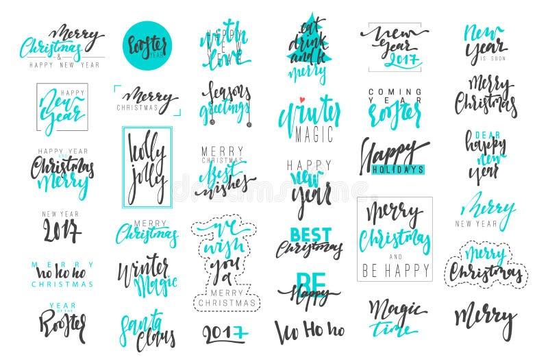 Buon Natale, emblemi di lusso di calligrafia del buon anno 2017 messi royalty illustrazione gratis