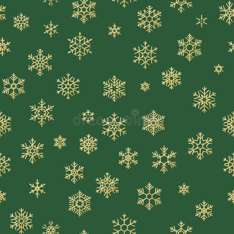 Buon Natale festa, decorazione dorata di celebrazione del buon anno, modello senza cuciture semplice del fiocco di neve Verde illustrazione vettoriale