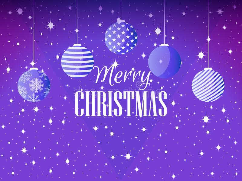 Buon Natale Fondo con le palle ed i fiocchi di neve di Natale Vettore illustrazione vettoriale