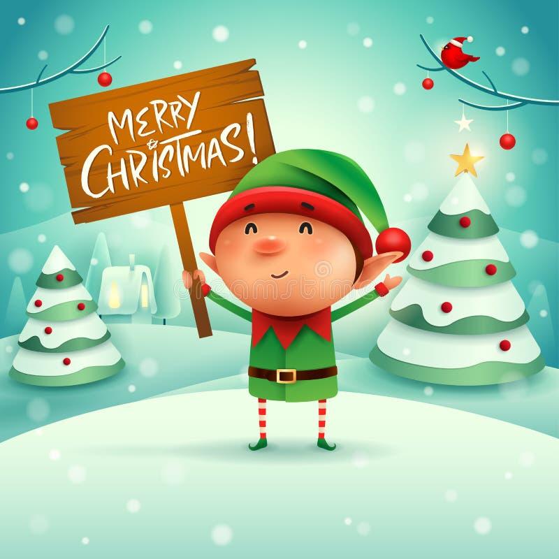 Buon Natale! Il piccolo elfo tiene il bordo di legno firma nel Natale illustrazione di stock