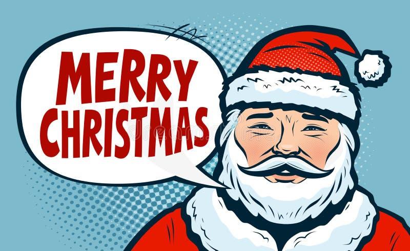 Buon Natale, insegna Il Babbo Natale dipinto a mano Retro stile comico di Pop art Illustrazione di vettore del fumetto illustrazione vettoriale