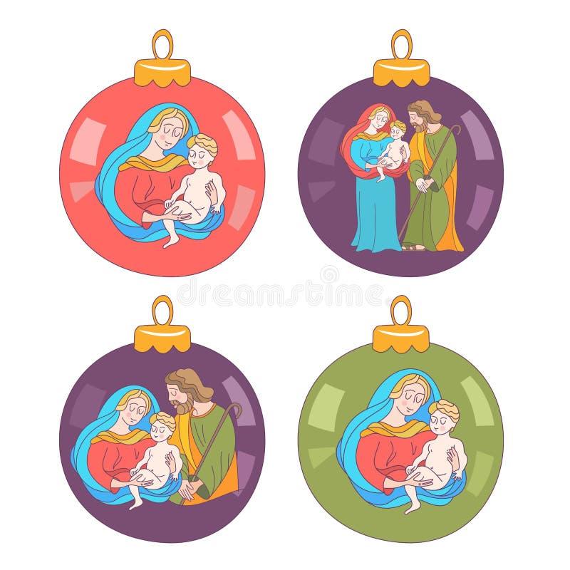 Buon Natale Insieme delle palle di Natale con l'immagine della famiglia santa royalty illustrazione gratis