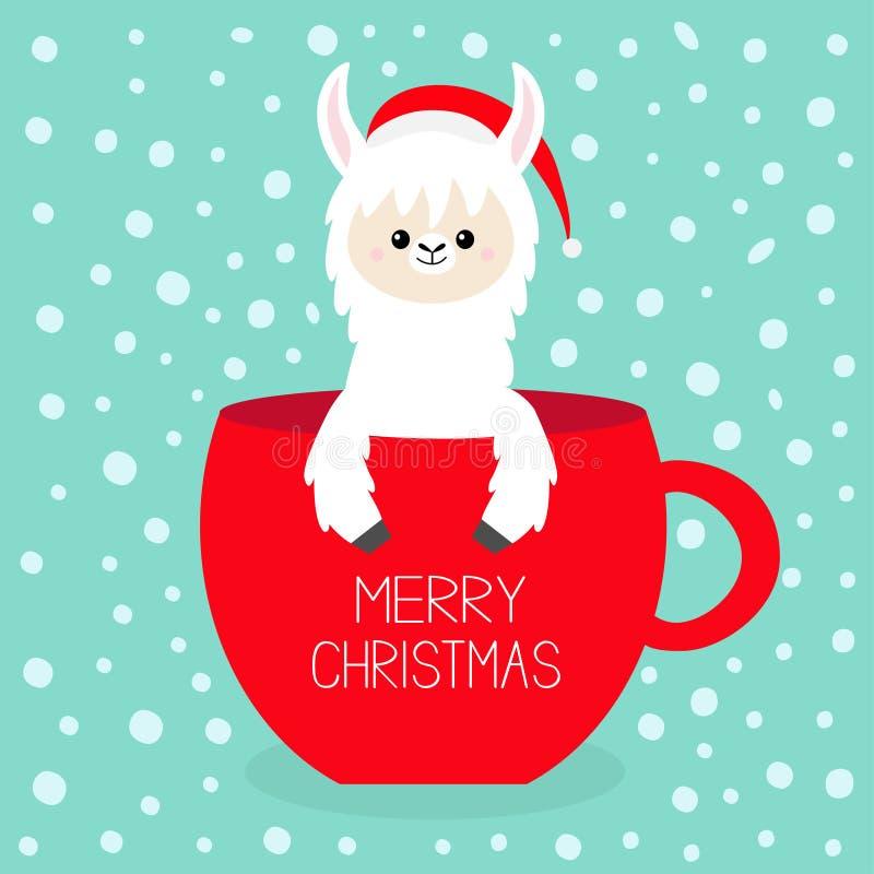 Buon Natale Lama dell'alpaga che si siede in tazza da the della tazza di caffè Cappello di rosso di Santa Claus Viso e mani Perso illustrazione vettoriale