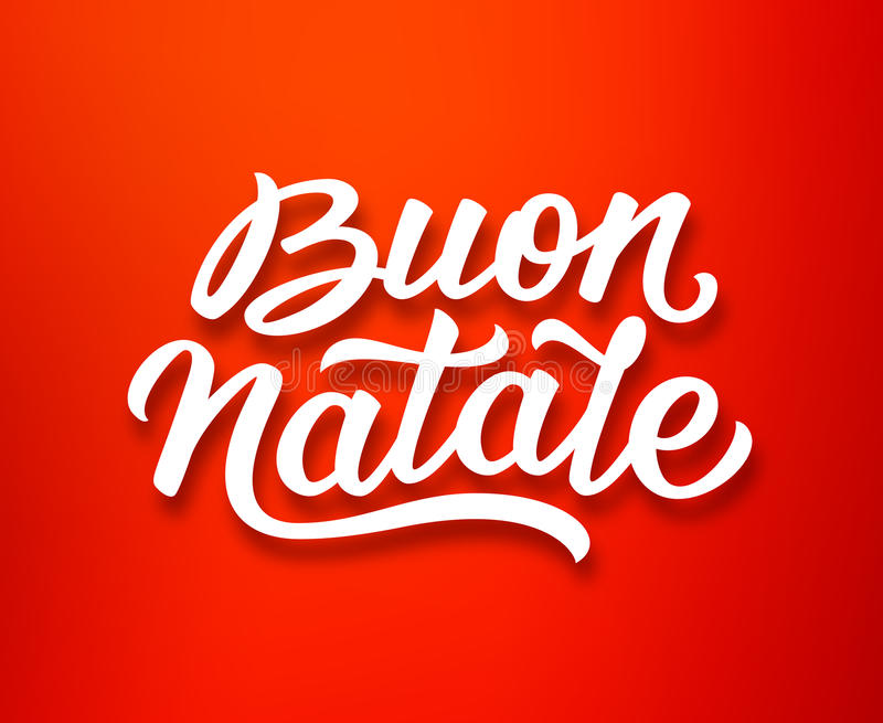 Buon Natale lettering in italian. Christmas card. Merry Christmas hand lettering style text in italian on red background. Xmas sticker or greeting card vector stock illustration