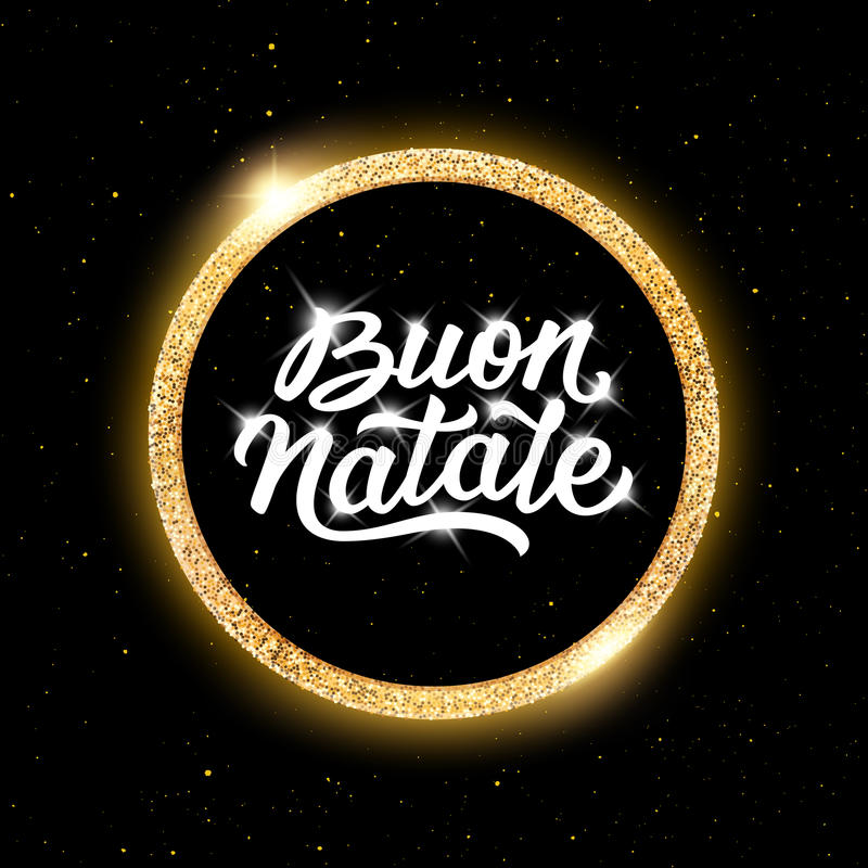 Buon Natale lettering. Merry Christmas in italian. Merry Christmas greetings text in italian language in center of round golden frame on black background with royalty free illustration