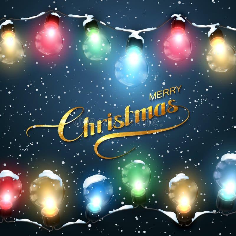 Buon Natale Luci di Natale con neve illustrazione di stock