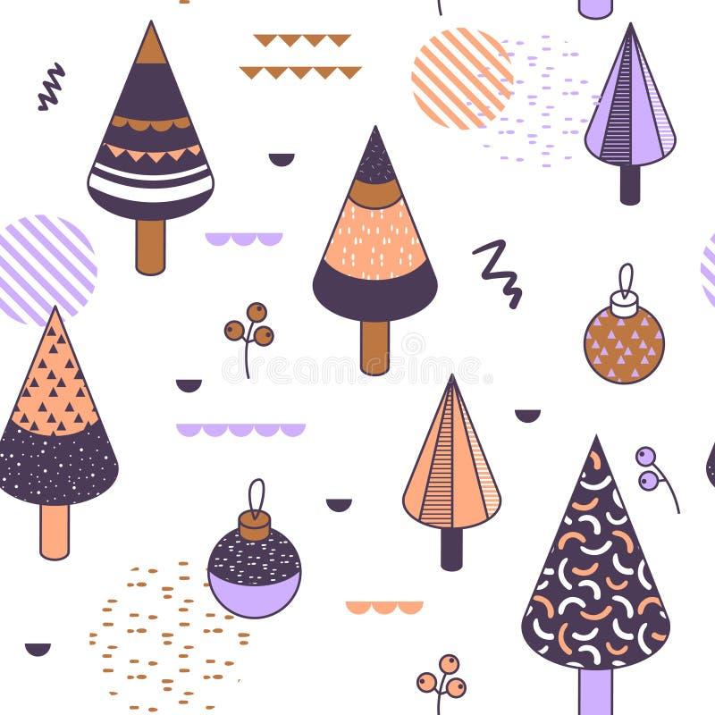 Buon Natale Memphis Geometric Seamless Pattern Fondo di vacanze invernali composizione in stile di 80s 90s per il tessuto illustrazione di stock
