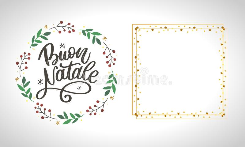Buon Natale. Merry Christmas Calligraphy Template in Italian. Greeting Card Black Typography on White Background. Vector vector illustration