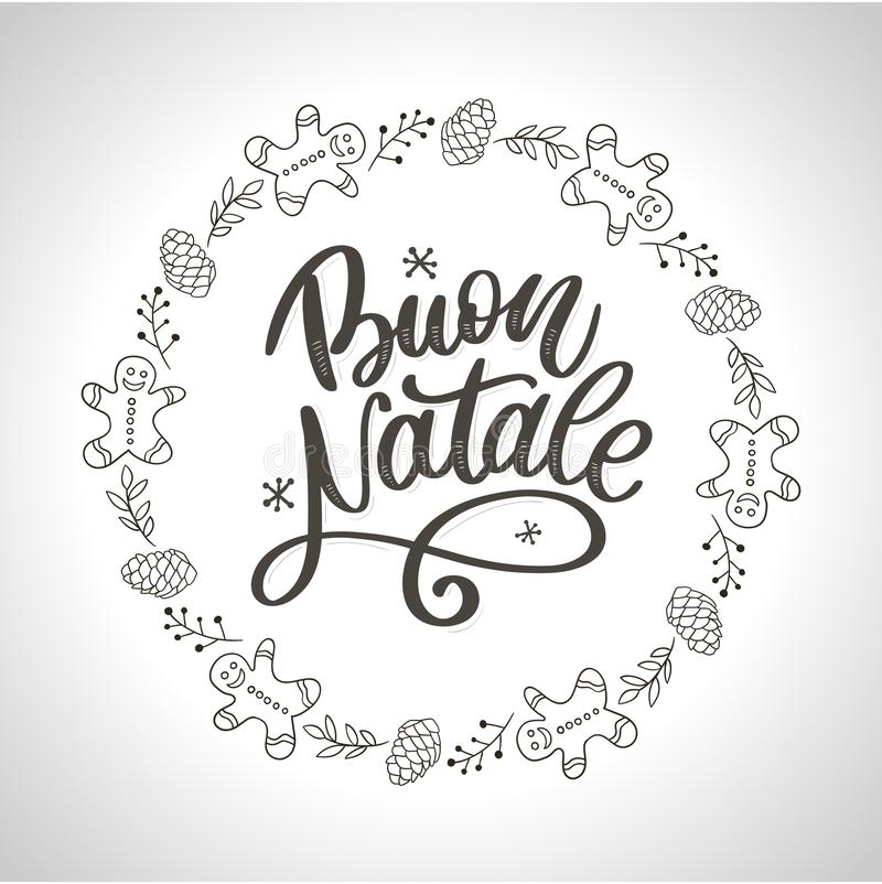 Buon Natale. Merry Christmas Calligraphy Template in Italian. Greeting Card Black Typography on White Background. Vector. Elegant Holiday Vector Lettering Series vector illustration