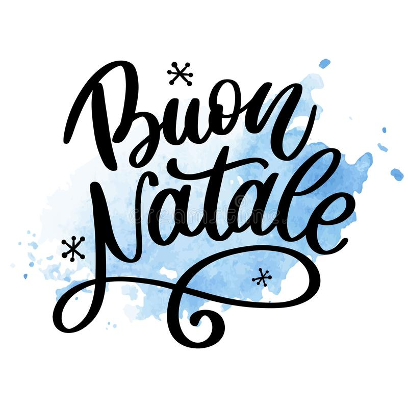 Buon Natale. Merry Christmas Calligraphy Template in Italian. Greeting Card Black Typography on White Background. Vector stock illustration
