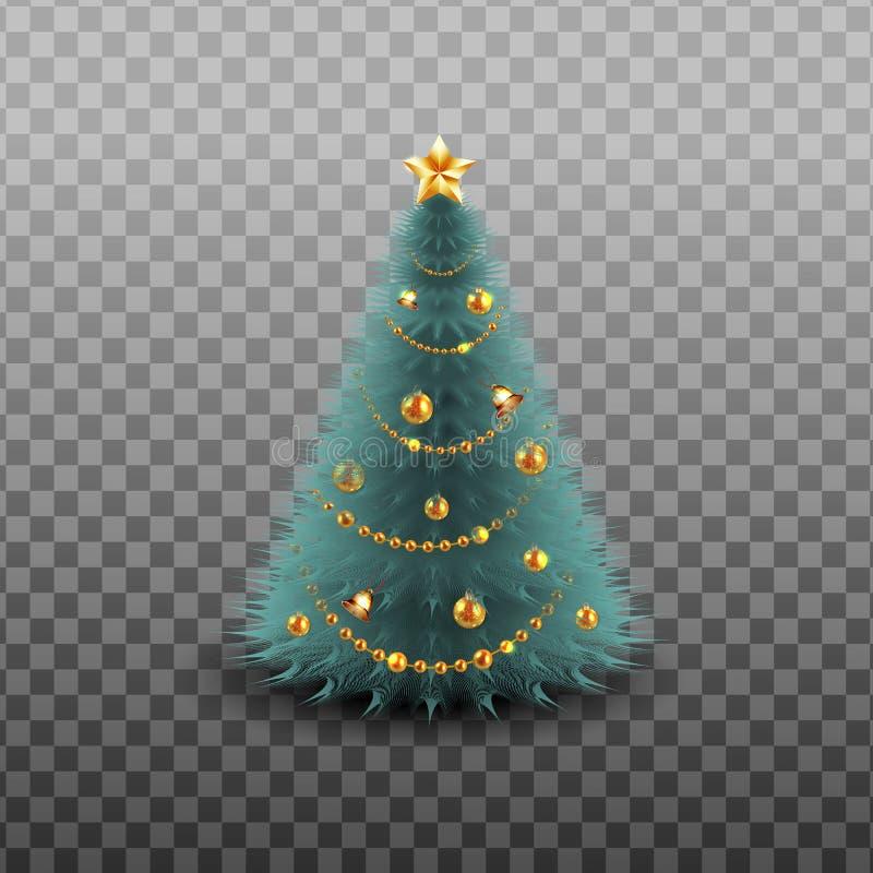 Buon Natale Nuovo anno felice Il Natale festivo progetta il modello con i rami di pino, la ghirlanda, la campana di tintinnio, ba illustrazione vettoriale