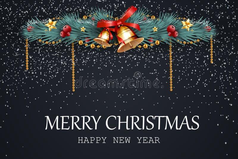Buon Natale Nuovo anno felice Il Natale festivo progetta il modello con i rami di pino, la ghirlanda, la campana di tintinnio, ba illustrazione di stock