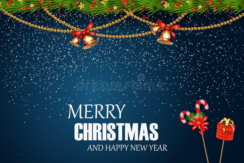 Buon Natale Nuovo anno felice Il Natale festivo progetta il modello con il ramo di albero dell'abete, la neve, la ghirlanda, la c illustrazione vettoriale