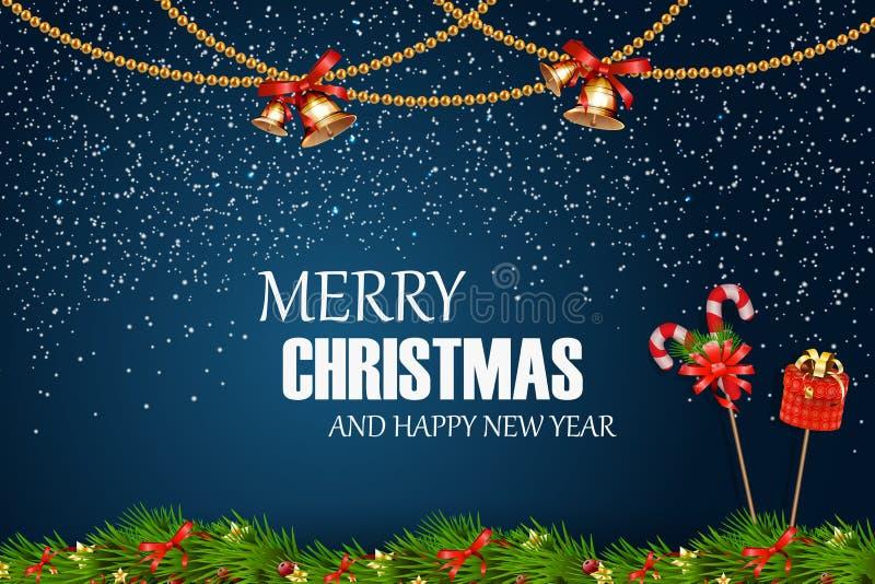 Buon Natale Nuovo anno felice Il Natale festivo progetta il modello con il ramo di albero dell'abete, la neve, la ghirlanda, la c royalty illustrazione gratis
