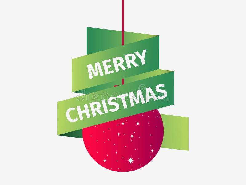 Buon Natale Palla rossa di natale con il nastro verde Modello di progettazione della cartolina d'auguri Vettore illustrazione vettoriale