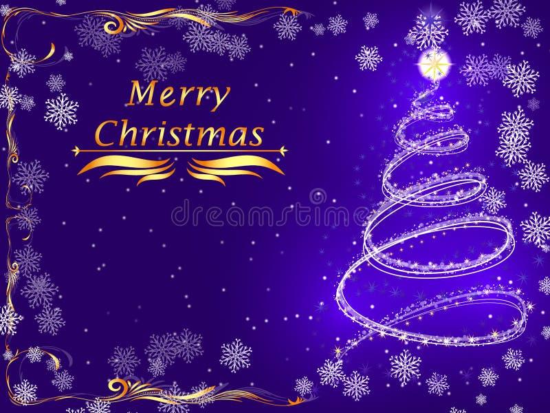 Buon Natale porpora della carta con un albero di Natale d'ardore illustrazione vettoriale