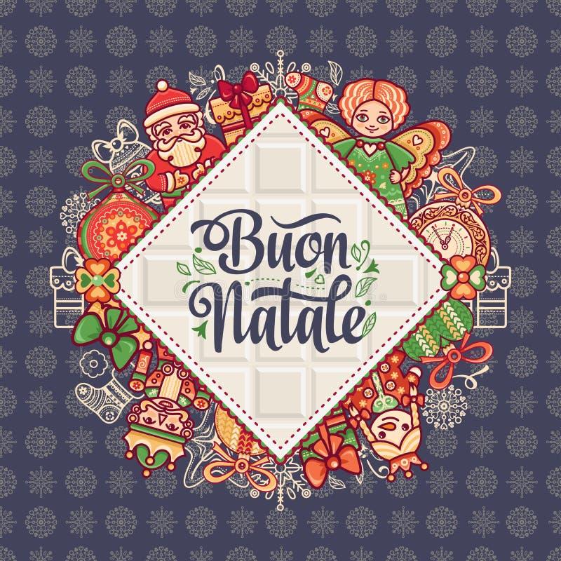 Buon Natale 2007 pozdrowienia karty szczęśliwych nowego roku Bożenarodzeniowy szablon Zima wakacje w Włochy Gratulacje na włoszcz ilustracji