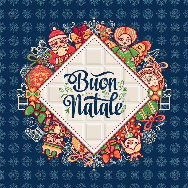 Buon Natale 2007 pozdrowienia karty szczęśliwych nowego roku Bożenarodzeniowy szablon Zima wakacje w Włochy Gratulacje na włoszcz ilustracja wektor