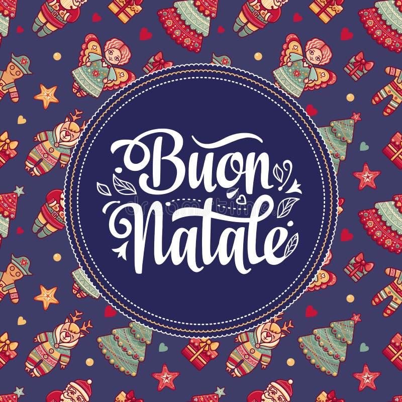 Buon Natale 2007 pozdrowienia karty szczęśliwych nowego roku Bożenarodzeniowy szablon Zima wakacje w Włochy Gratulacje na włoszcz royalty ilustracja