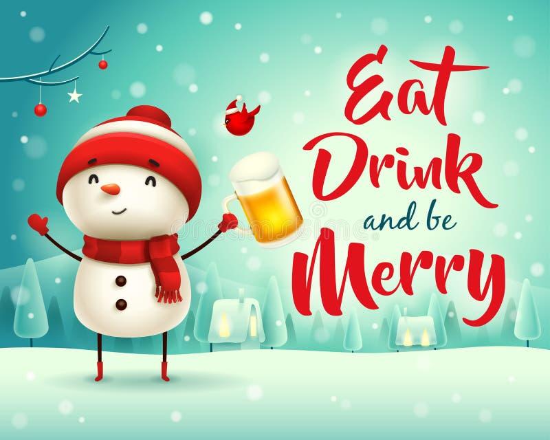 Buon Natale! Pupazzo di neve allegro con birra nel paesaggio di inverno di scena della neve di Natale illustrazione vettoriale