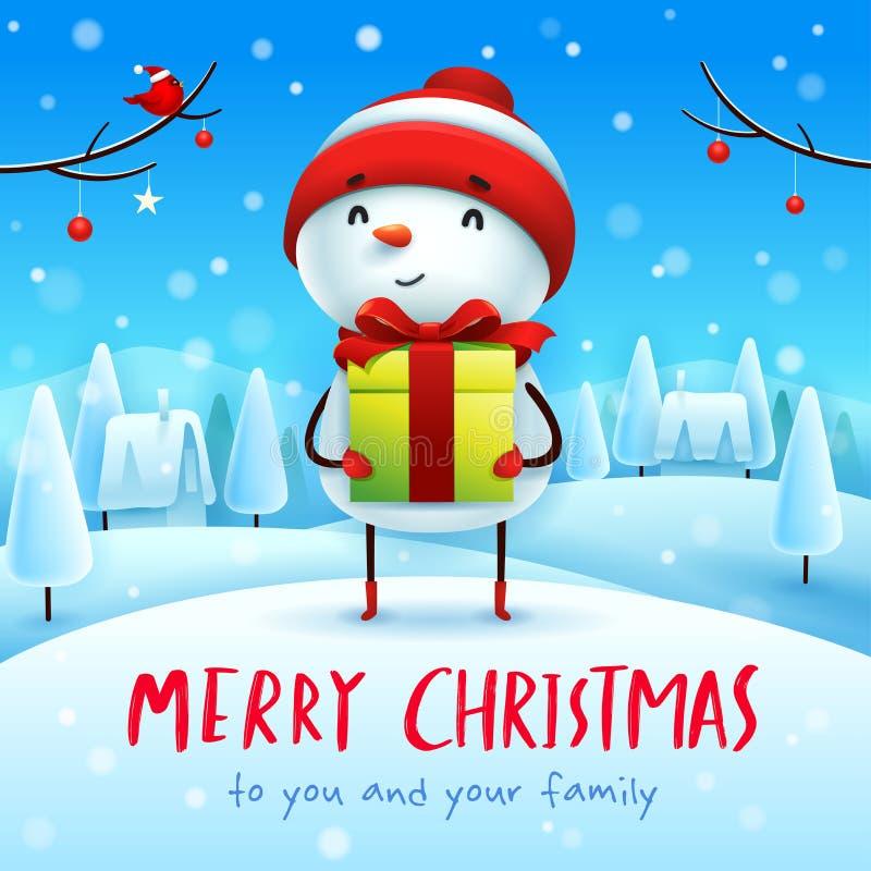 Buon Natale! Pupazzo di neve allegro con il presente del regalo nel paesaggio di inverno di scena della neve di Natale illustrazione di stock