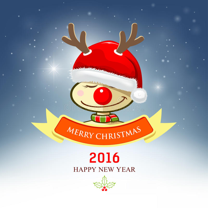 Buon Natale, renna con il cappello di Santa illustrazione vettoriale