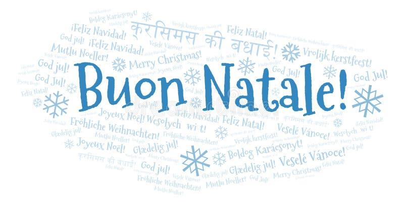 Buon Natale słowa chmura - Wesoło boże narodzenia na Włoskim języku i innych różnych językach royalty ilustracja
