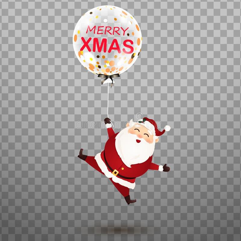 Buon Natale Santa Claus felice e sveglia con pallone realistico trasparente festivo dell'elio di lustro il grande con il confetti illustrazione vettoriale