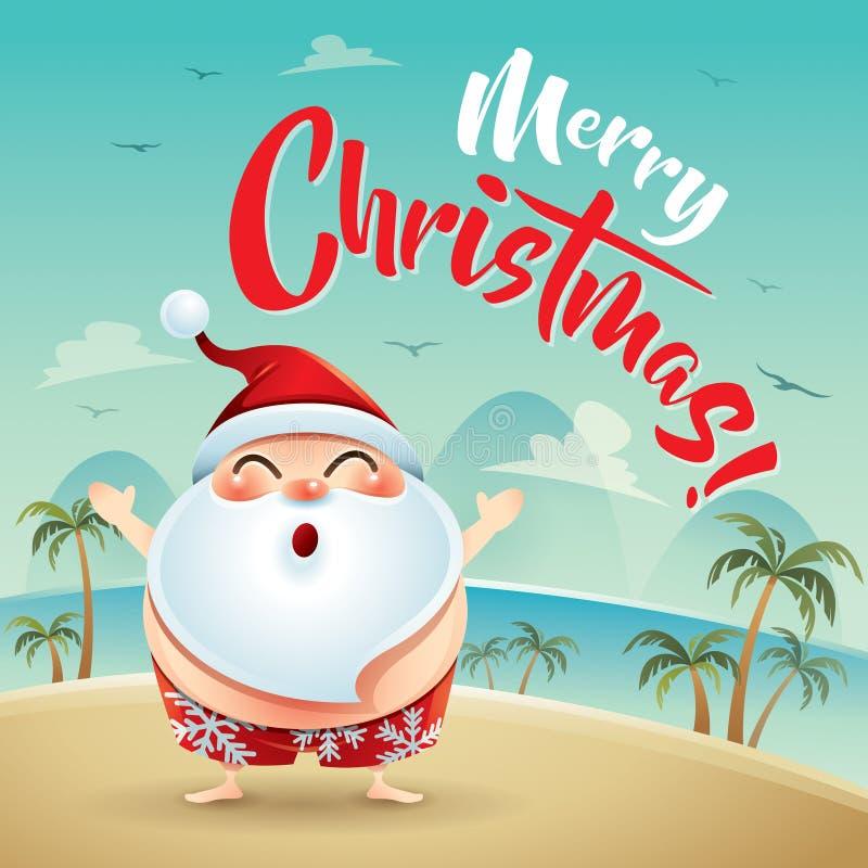 Buon Natale! Santa Claus sulla festa della spiaggia royalty illustrazione gratis