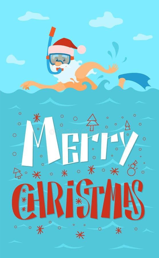Buon Natale, Santa Claus Swimming, maschera di immersione subacquea illustrazione di stock