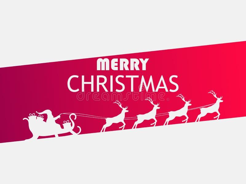 Buon Natale Santa Claus in una slitta con la renna Modello di progettazione della cartolina d'auguri Vettore royalty illustrazione gratis
