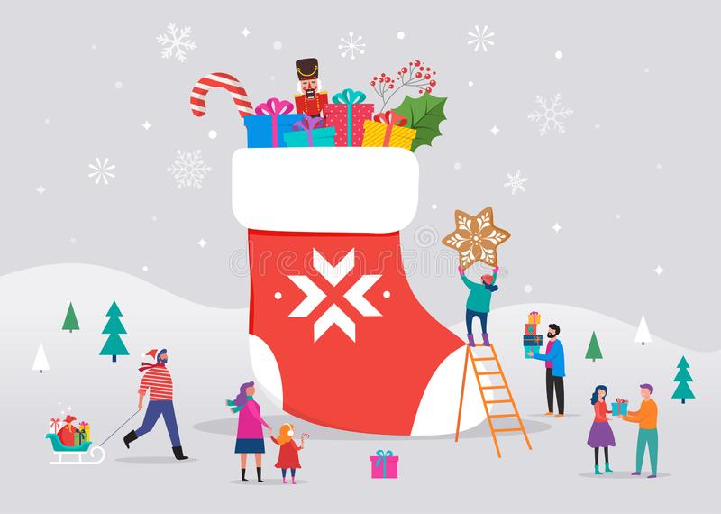 Buon Natale, scena di inverno con un grande calzino rosso con i contenitori di regalo e la piccola gente, giovani e donne, famigl royalty illustrazione gratis