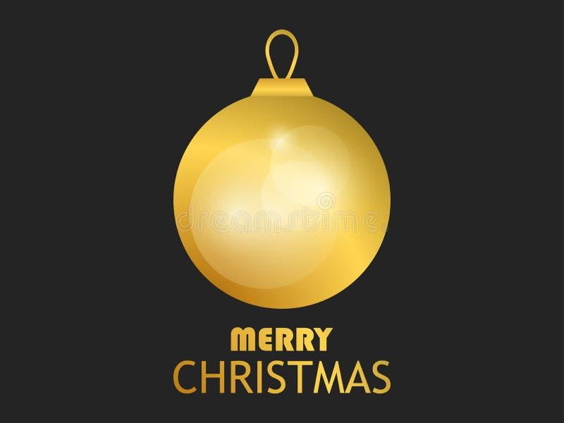 Buon Natale Sfera dorata di natale su priorità bassa nera Pendenza dell'oro Modello di progettazione della cartolina d'auguri Vet illustrazione di stock