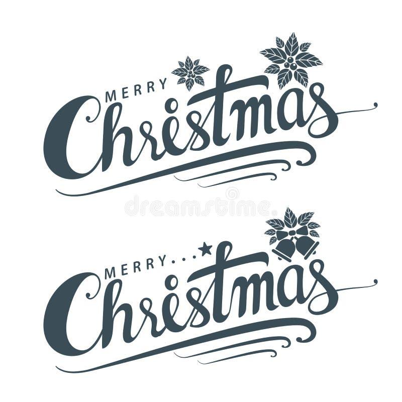 Buon Natale testo, modello della carta di progettazione di iscrizione royalty illustrazione gratis