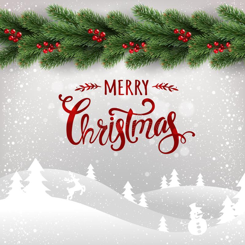 Buon Natale tipografico su fondo bianco con la ghirlanda dei rami dell'albero di Natale, paesaggio di inverno, fiocchi di neve, l illustrazione di stock
