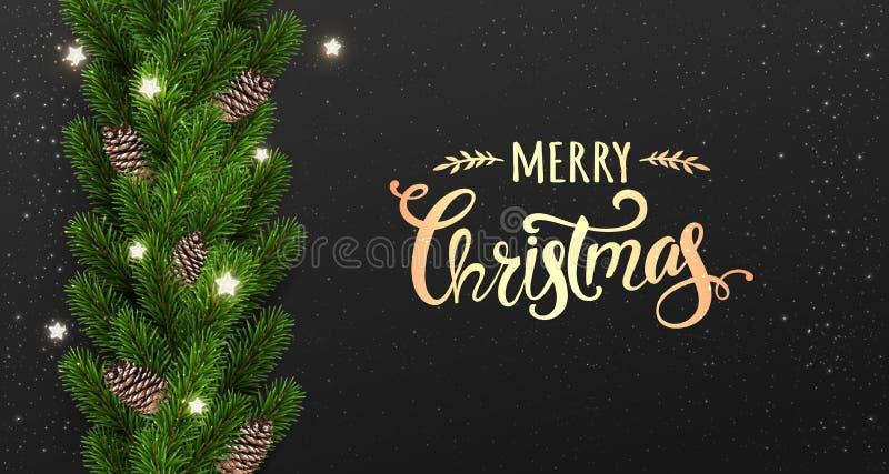 Buon Natale tipografico su fondo nero con la ghirlanda dei rami di albero decorati con le stelle, luci, fiocchi di neve royalty illustrazione gratis