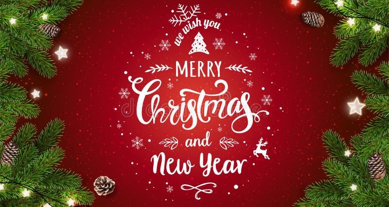 Buon Natale tipografico su fondo rosso con i rami di albero, bacche, contenitori di regalo, stelle, pigne Natale e nuovo anno royalty illustrazione gratis