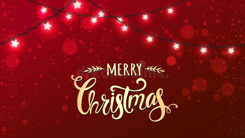 Buon Natale tipografico su fondo rosso con le ghirlande bianche d'ardore delle decorazioni di natale, luce, stelle illustrazione vettoriale