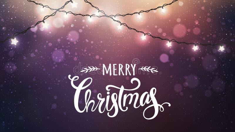 Buon Natale tipografico su fondo scuro con le ghirlande bianche d'ardore delle decorazioni di natale, luce, stelle illustrazione di stock
