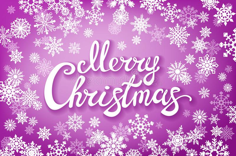 Buon Natale tipografico sul fondo brillante con i fiocchi di neve, luce, stelle di natale Illustrazione di vettore Carta rosa illustrazione di stock