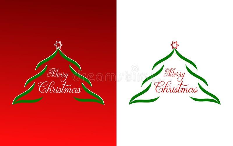 Buon Natale - un grande albero di Natale su un fondo rosso illustrazione vettoriale