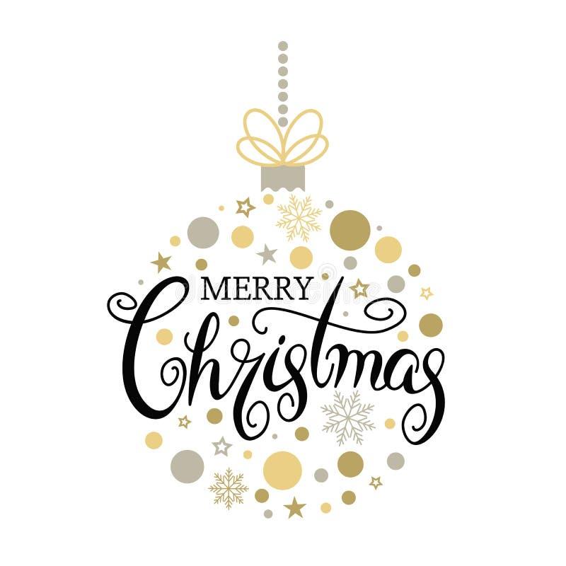 Buon Natale in un ornamento al ballo di Natale per l'albero di Natale Incisione a mano illustrazione vettoriale