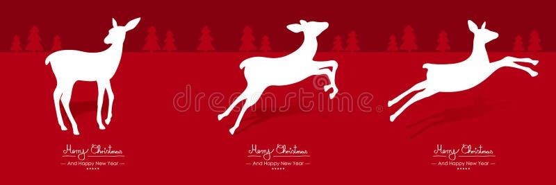 Buon Natale - vettore semplice Fawn Greeting e modello della cartolina di Natale messo nel rosso illustrazione vettoriale