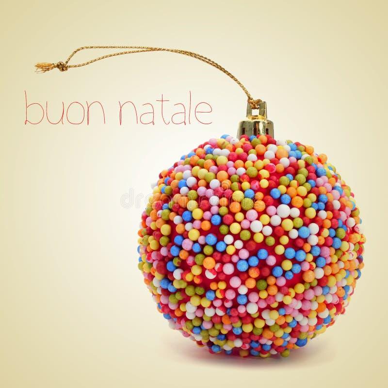 Buon natale, vrolijke Kerstmis in het Italiaans royalty-vrije stock foto's