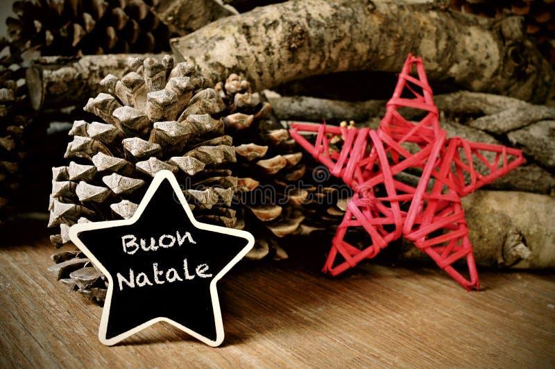 Buon natale, vrolijke Kerstmis in het Italiaans royalty-vrije stock foto