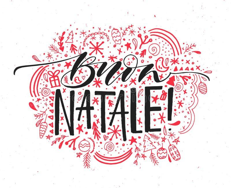 Buon Natale, Włoski Wesoło bożych narodzeń tekst Wektorowy kartka z pozdrowieniami z ręka rysującym elementu ornamentem wokoło ha ilustracja wektor