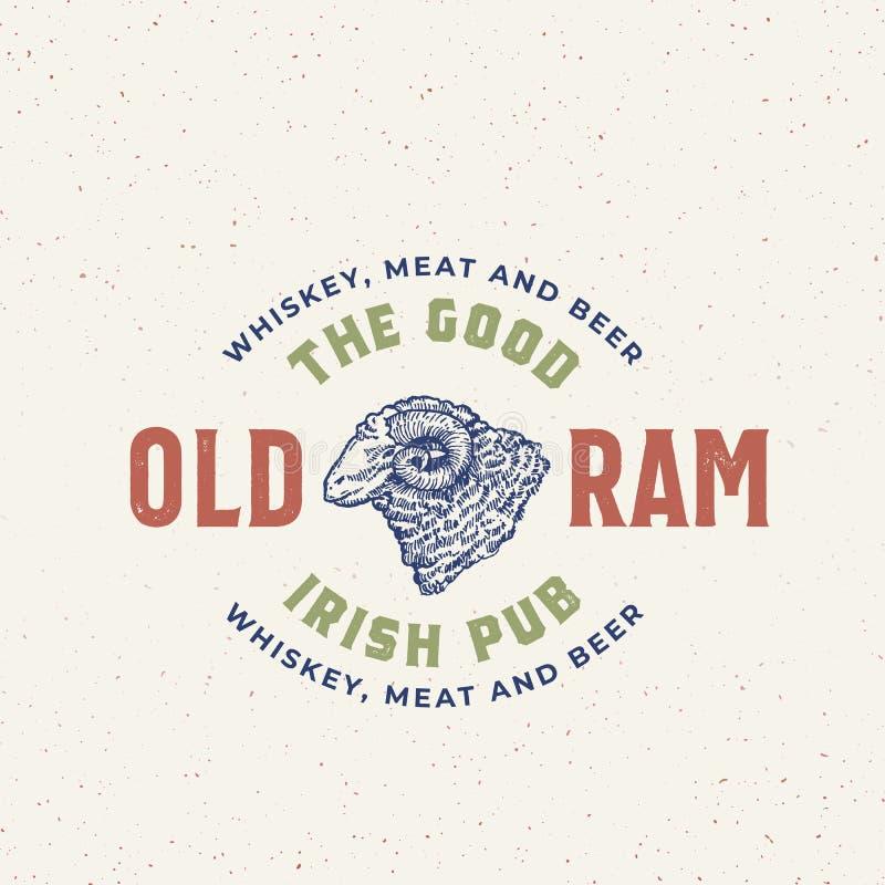 Buon segno, simbolo o Logo Template anziano di Ram Irish Pub Abstract Vector Ram Head Sketch Sillhouette disegnato a mano con royalty illustrazione gratis