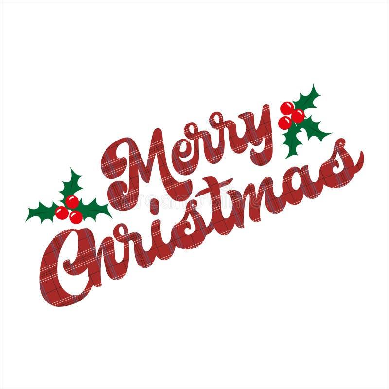 Buon testo natalizio, con i misteri, su fondo bianco illustrazione di stock