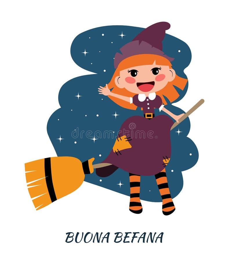 Buona Befana与飞行Befana的贺卡在笤帚 意大利圣诞节传统 向量例证